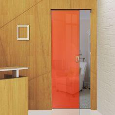Eclisse 10mm Satin Red - Orange Tint Colour Glass Syntesis Pocket Door - 8136.    #pocketglassdoor  #glassdoor  #framelessglassdoor