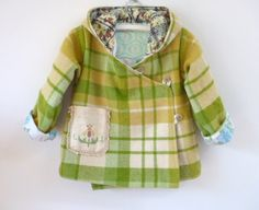 upcycled little girls jacket! - made from a wool blanket