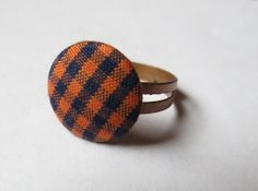 Orange and Blue Fabric Plaid Button and Copper by GypsyDreamerCafe, $6.75
