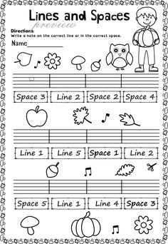 This set of 20 Music worksheets Autumn themed is designed to help your students practice identifying whether a pitch is on a line or in a space and practice high/low pitches.