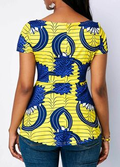 Boat Neck Printed Short Sleeve Blouse Boat Neck Printed Short Sleeve Blouse - Trend Way Dress African Fashion Designers, African Fashion Ankara, Latest African Fashion Dresses, African Print Fashion, Africa Fashion, African Dresses For Women, African Print Dresses, African Attire, African Blouses