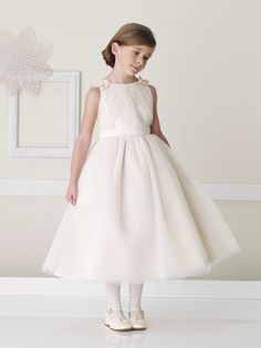 Straps natural waist  with  tulle dress for flower girl