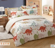 Dinosaur Park Cream Colored Dinosaur Bedding Set [103801000016] - $89.99 : Colorful Mart, All for Colorful Life!