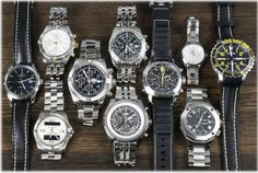 It's a Breitling day with a variety of pieces from the past decade.  Also posted is a sporty Panerai Ferrari Rattrapante & Fortis B-42.  On the more dressy side of things we've posted a Baume Riviera Chrono XXL and Ladies TAG Heuer Carrera.