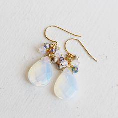 Opal Stone Drop Earrings Swarovski Pearl Czech by YuniDesigns