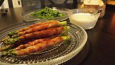Parmankinkkua ja parsaa, aiolia sekä valkosipuli-voi-oliiviöljyssä paistettuja papuja