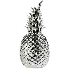 Pols Potten Home Silver Glazed Porcelain Pineapple ($67) ❤ liked on Polyvore featuring home, home decor, fillers, accessories, backgrounds, decor, silver, silver home accessories, silver home decor and handmade home decor