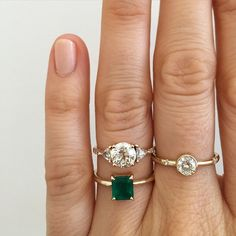 New custom rings. Wish I could capture how beautiful the color of this emerald really is