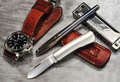 Gentlemen EDC Every Day Carry Panerai Luminor - Purchase on Amazon Lee Oskar Harmonica - Purchase on Amazon Pen Knife
