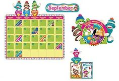 Decorate your classroom walls with a full-sized interactive bulletin board set. The Sock Monkey Calendar Bulletin Board Set features a large calendar, a set of calendar numbers, and 12 month headers that make a great display all year long. Students will love charting the weather and changing the day of the week cards. 100 pieces total. Picture above may not represent a full set.