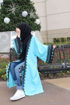 Sky Blue Abaya and Black Trim Modest Fashion Hijab, Hijab Chic, Abaya Fashion, Pakistani Fashion Party Wear, Pakistani Dress Design, Hijabi Girl, Girl Hijab, Fashion 2020, Girl Fashion
