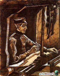 Tejedor en el telar   Autor:Vincent Van Gogh    Fecha:1884    Museo:Museo Nacional Van Gogh    Características:26 x 21 cm.    Material:Tinta china    Estilo:Neo-Impresionismo