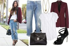Love finding ways to make my baggy boyfriend jeans chic!