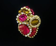 Cocktail Ring in Magenta & Tigers Eye  Fun by SharonaNissan, $165.00