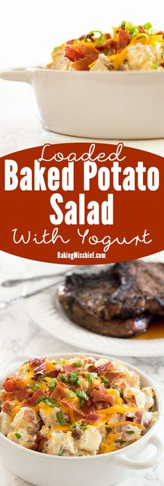 Creamy, cheesy loaded baked potato salad lightened up a bit with Greek yogurt (you'll never know it's there!). Recipe includes nutritional information. From http://BakingMischief.com