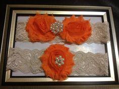 ON SALE - Orange Wedding Garter -  Bridal Garter Set - Ivory Stretch Lace Orange Chiffon Flowers - Pearl Rhinestone embellishment..., $19.00