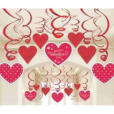 Amscan Blushing Valentines Foil Swirl Party Decoration (60 Piece), 7, Red/ White