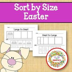 Sort by Size Activity Sheets - Color, Cut, and Paste - Easter Theme Counting Activities, Color Activities, Learning Resources, Teacher Resources, Kindergarten Blogs, School Reviews, Learn To Count, Teacher Organization, Activity Sheets