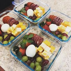 Cold cuts, cheese, and eggs with fresh fruit