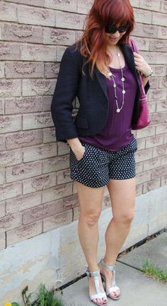 polk-a-dot shorts Over 40 fashion for the stylish woman.