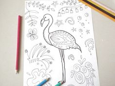 flamingo adults coloring kids tropical diy zen doodle animals pet colouring book bird printable activities kitsch doodling lasoffittadiste
