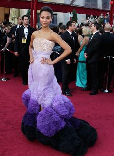Pin for Later: 30 Iconic Oscars Dresses Worthy of Their Own Award Zoe Saldana at the 2010 Academy Awards Zoe Saldana wore a purple confectionary creation by Givenchy couturier Riccardo Tisci.