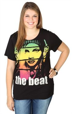 Deb Shops plus size short sleeve oversized tee with the beat screen print $18.67