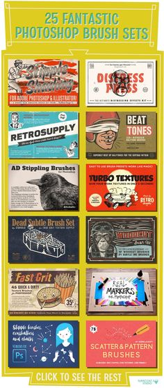 25 Fantastic Photoshop Brush Sets - Some of my favorite brush sets for Photoshop that will help you achieve a hand-made look with your vector illustrations. CLICK TO SEE THEM ALL. hand-drawn, ink, watercolor, calligraphy, tool, strokes, pencil, pen, brush, paint, comic, marker, chalk, charcoal, texture, lettering, retro, vintage, graphic design #psd #affiliatelink
