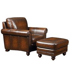 Chair for David by Bassett.  Hamilton style; hand rubbed leather and antique nail trim.