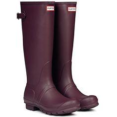 Burgundy - Matte - Women's Hunter Original Adjustable Back Wellingtons Winter Rain Boots
