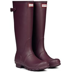 Burgundy - Matte - Women's Hunter Original Adjustable Back Wellingtons Winter Rain Boots