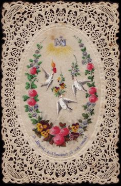 To Mary - Our thoughts & our hearts.  Antique hand-painted French holy card.  www.fullofgraceusa.com