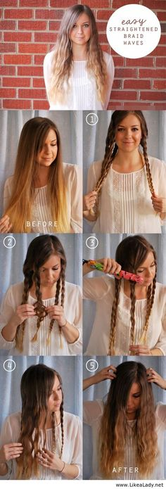 Easy straightened braid waves tutorial I'm soooo tempted to wake up my daughter and try this right freaking now...seriously why didn't I think of this???