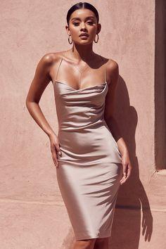 Clothing : Bodycon Dresses : 'Alette' Champagne Satin Cowl Back Dress