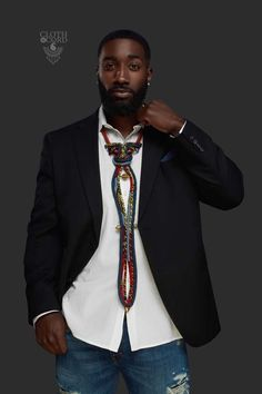 Men's Leather Cord & Jean Tie Men's Jewelry Source by African Print Fashion, Africa Fashion, Tribal Fashion, African Fashion Dresses, Bohemian Fashion, Mens Fashion, African Print Clothing, African Shirts, Art Clothing