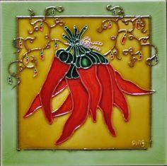 Red Pepper Framed Tile Wall Decor