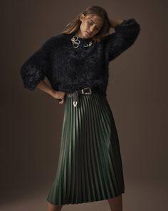 Autograph jumper, £49.50, M&S Collection skirt, £39.50, necklace, £19.50, belt, £15.