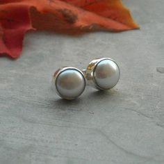 White pearl stud earrings 10mm, freshwater pearl silver stud earrings