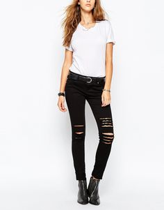 Tripp Nyc Low Rise Skinny Jeans With Rips & Distressing