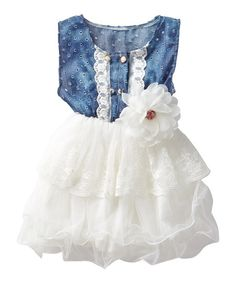 Knuckleheads White & Denim Lace Eyelet Tutu Dress - Toddler & Girls | zulily