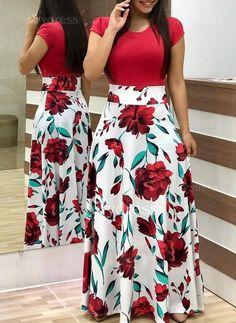 Short Sleeve Floral Print Maxi Dress - 27 ( and more) dresses - Saias Skirt Outfits, Dress Skirt, Cute Outfits, Summer Outfits, Dress Summer, Long Skirts, Chic Dress, Summer Dresses For Women, Spring Dresses