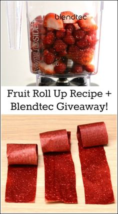 Homemade fruit roll ups  are so easy to make! This simple snack recipe takes minutes to prepare in a Blendtec. Enter my giveaway for a chance to win your own Blendtec blender!