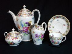 Fine Hand Painted 12 pc. Dresden Porcelain Set with Cups, Saucers, Tea Pot, Sugar and Creamer