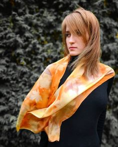 "Hand painted Silk scarf ""Autumn Leaves"" by KseniaSilkArt on Etsy Painted Silk, Hand Painted, French Silk, Silk Painting, Silk Scarves, Autumn Leaves, Your Style, Pure Products, Etsy"