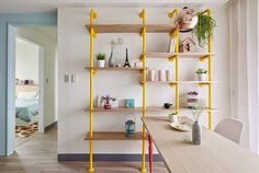 The Awesomeness of a Bright Yellow Pipe Shelf in the Kitchen — Kitchen Inspiration