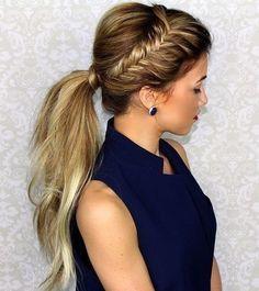 Super Easy Ponytail Hairstyles - Side Fishtail Braid Ponytail