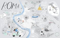 Libby VanderPloeg - A Map of Rome, published: Cookbook A Taste of Rome, Hardie Grant UK, 2015. From 'Mind the Map', © Gestalten 2015.