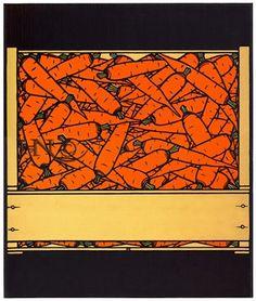 #228, Carrots, linocut by Jacques Hnizdovsky, 1976