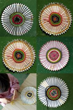 paper plates & yarn. super to do as a craft with kids