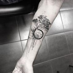Unique and Creative Geometric tattoos Blackwork Geometric tree tattoo . - Unique and Creative Geometric tattoos Blackwork Geometric tree tattoo ~ tattoo love - Trendy Tattoos, Black Tattoos, Tattoos For Women, Tattoos For Guys, Forearm Tattoos, Body Art Tattoos, New Tattoos, Tatoos, Woman Tattoos